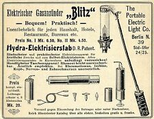 Electric Light & Co. Berlin GASANZÜNDER BLITZ Historische Reklame von 1905