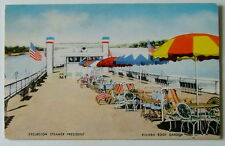 POSTCARD RIVIERA ROOF GARDEN ON THE EXCURSION STEAMER PRESIDENT SHIP BOAT