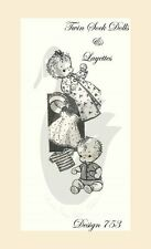 Reproduction Vintage Twin Sock Dolls & Layette Sewing Pattern D753