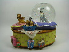 Disney Snow Globe Lady and the Tramp Enesco Snowglobe Music Box Fur Elise Rare