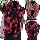 Fashion Women's Red Poppy Flowers Print Long Scarf Wrap Shawl/Infinity Scarf New
