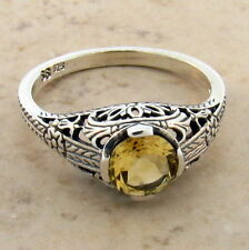 GENUINE CITRINE 925 STERLINING SILVER ANTIQUE STYLE RING, SIZE 9          #565