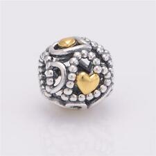 OPEN HEARTS w Goldplate Accents .925 Sterling Silver European Charm Bead