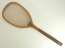 "Spalding ""The Greenwood"" Checkered Handle Antique Tennis Racquet - Gut is Intact"