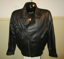 SUZIES Fashion Black 100% Leather Insulated Zip Jacket Size L NWOT