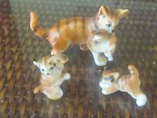 Vintage Set  Miniature Mother & Kittens Bone China..Kept in Curio