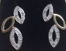 (478) 9ct Gold 10pt Diamond Set Leaf Earrings New In Box