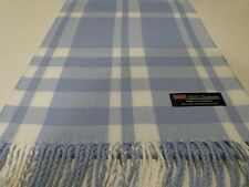 New 100% Cashmere Scarf Soft 72X12 Light Blue White Scotland Wool Check Plaid K5