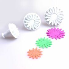3Pcs Fondant Flower Plunger Cake Cutter Cookie Sugarcraft Mould Decorating Tool