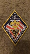 "2007 CAMPOREE BSA NEW JERSEY STATE POLICE  3""X 4.5"" IRON ON PATCH NICE !"