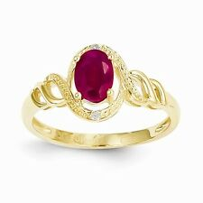 10K YELLOW GOLD 1.1CT OVAL NATURAL RUBY & DIAMOND RING  JULY BIRTHSTONE - SIZE 7