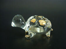 Glass TORTOISE, Gold Painted Glass Ornament, Glass Animal, Glassware Figure Gift