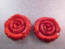 Dyed Wood Carved Red Flower 30mm Pendant 2pcs