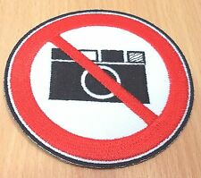1xNEW NO PHOTO CAMARA PICTURE SIGN SYMBOL IRON ON PATCH SHIRT LOGO FABRIC PO110