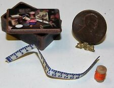 Dollhouse Miniature Sewing Box Vintage Style 1:12 Scale