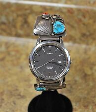 Timex Indiglo Navajo Sterling Silver & Turquoise Quartz Watch As Is Not Running