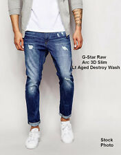 G Star Raw Arc 3D Slim Straight Jeans Aged Destroy Wash Sz 38 X 30 NEW  $190