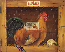 REPRINT PICTURE of older print ROOSTER C 1st prize country primitive 7x5 5/8