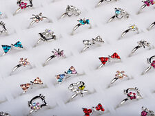 20/Lot Wholesale Mixed Color Gift Kids/Childrens Crystal Rings Fashion Jewellery