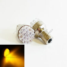 1156 Yellow Round 19 LED 2x Bulb #Sw4 P21W BA15s Front Rear Turn Signal Light