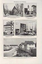 Lithografie 1934: Wohnhaus und Siedlung. Zellen und Gewebe der Pflanzen.