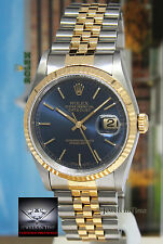 Rolex Datejust 18k Yellow Gold/Steel Blue Dial Mens Watch Box/Papers 16233