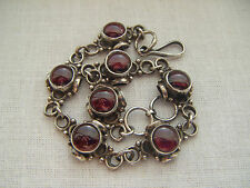 Vintage sterling silver 925 lovely ruby red cabochons bracelet Hallmarked 925