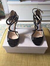 Auth Jimmy Choo Lance Strap Sandals In Black Patent Leather Size 39
