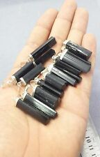 Natural Sterling silver black Tourmaline necklaces pendants long 10 pieces lot