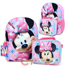 Disney Minnie Mouse Bowtique Large Backpack with Detachable Lunch Bag Combo