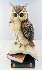 15 Inch Owl with Books Statue Figurine Wild Life Animal Figure Wisdom Knowledge