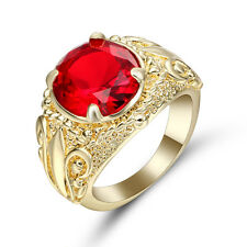 Jewelry Size9 Percious Mens 10k yellow Gold Filled Garnet Engagement flower Ring