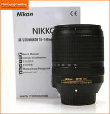 Nikon 18-140mm f3.5-5.6 af-s g ed vr dx objectif zoom. + gratuit uk envoi