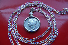 "Sharp Handsome .900 SILVER MERCURY DIME PENDANT 30""  925 Sterling Silver Chain"