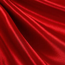 "2 yards RED Satin Poly Faux Silk Drapery Upholstery fabric - 60"" Wide"