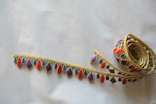 #2221 Gold,Silver Trim Fringe Gems,Ruby Embroidery Applique Patch/yard