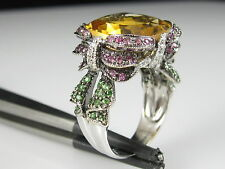 18K Citrine Pink Sapphire Emerald Diamond Ring White Gold Ribbon KING'S $4300