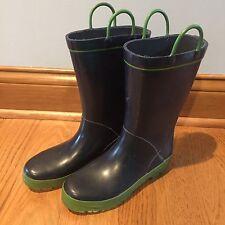 LANDS' END Kids Navy Blue Green Mattee Rain Boots Rainboots 3 Girls Boys Unisex