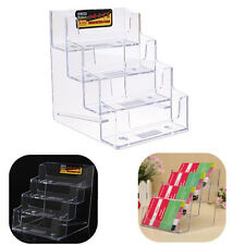 4 Pocket Clear Cosmetic Office Pen Counter Acrylic Card Holder Stand Display Hot