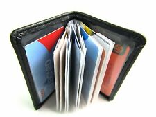 MENS LADIES SUPER SOFT BLACK REAL LEATHER CREDIT CARD HOLDER WALLET PURSE POUCH