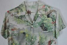 Vintage 1940s Rayon Shirt Chest 36 Size S Pagoda Scenic Button Loop Collar