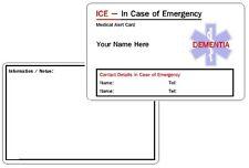 Dementia ICE - In Case of Emergency - Medical Alert ID Card .