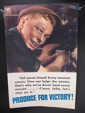 Vintage Sheldon-Claire WWII Propaganda Poster No. 10 Produce For Victory!