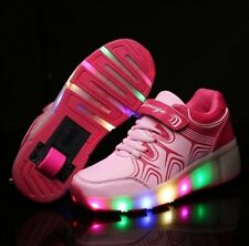 New Girls Wheelie Trainers With LED Lights In Pink. UK Seller Retractable Wheels