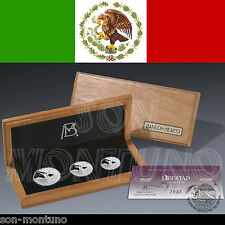 DAMAGED BOX - 2013 LIBERTAD SILVER PROOF SET - 3 Coins in Box+COA 1 1/2 1/4  Oz