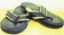 r- SHOES MENS SZ 8.5 FLIP FLOP BLACK WOVEN TWINE STRAPS GENTLY USED