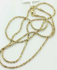 "14k Solid Yellow And White Gold Diamond Cut Sparkle Necklace Chain 16"" 1.5mm"