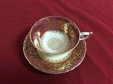 Vintage PARAGON England Fuschia with GOLD CENTER MEDALLION TEA CUP & SAUCER