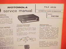 1972 MOTOROLA CAR AUTO FM CONVERTER RADIO SERVICE SHOP REPAIR MANUAL FM72M