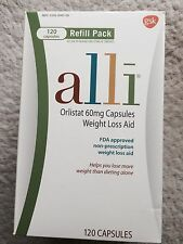 ALLI Weight Loss Aid ORLISTAT 60mg Capsules 120ct Refill Bottle Expiration: 2018